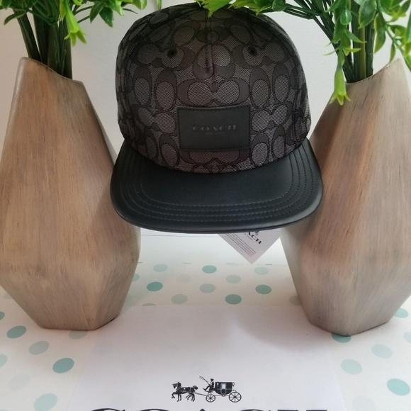 BRAND NEW MEN/'S COACH F33776 FLAT BRIM SIGNATURE BLACK ADJUSTABLE HAT CAP